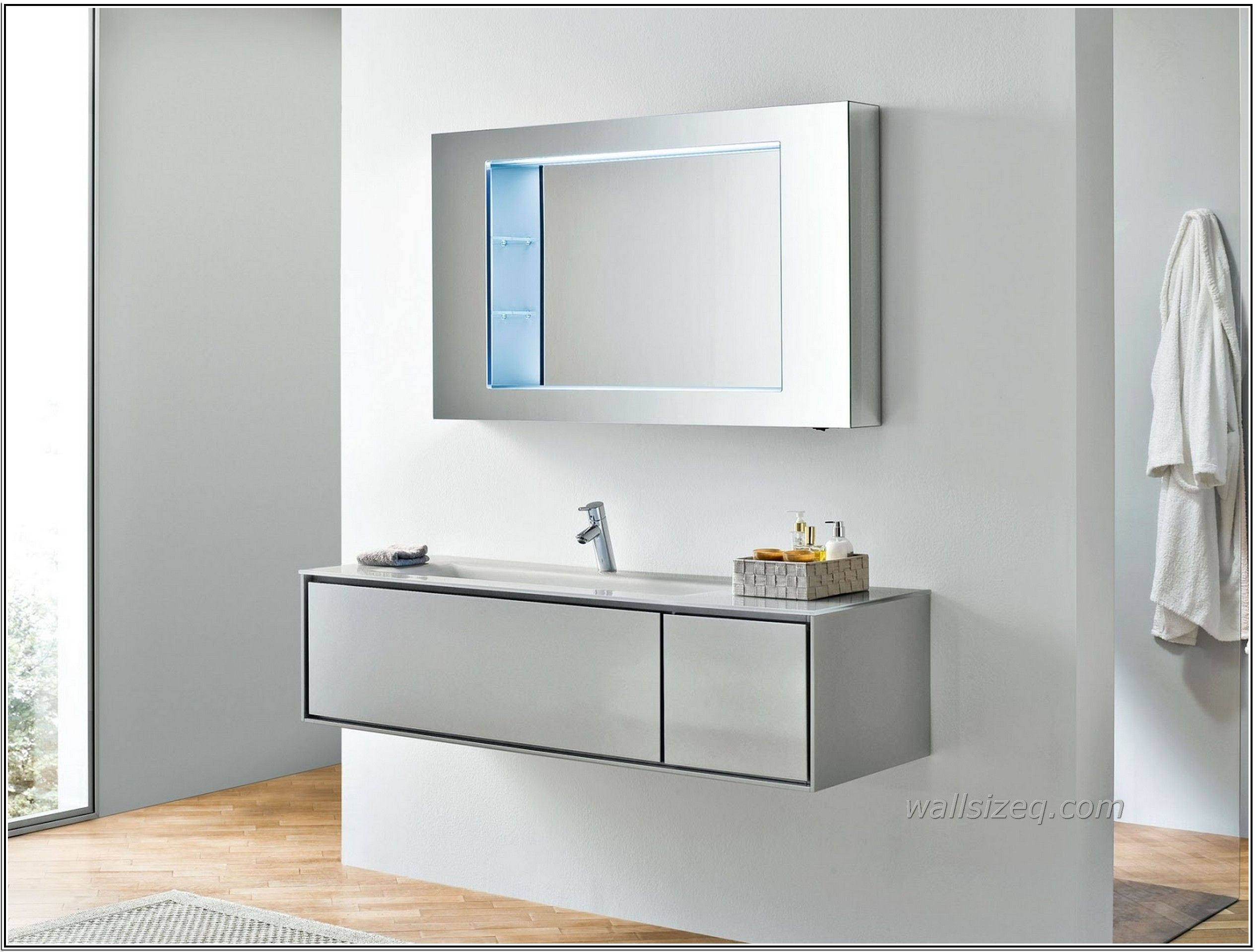 Amazing Bathroom Cabinets Ideas Modern Mirror Silver Border Laminate ...