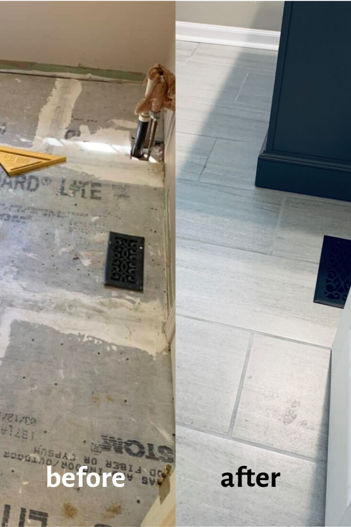 Life With Neal Suz Check Out Our Diy Projects In 2020 Tile Installation Ceramic Floor Tile Tile Bathroom