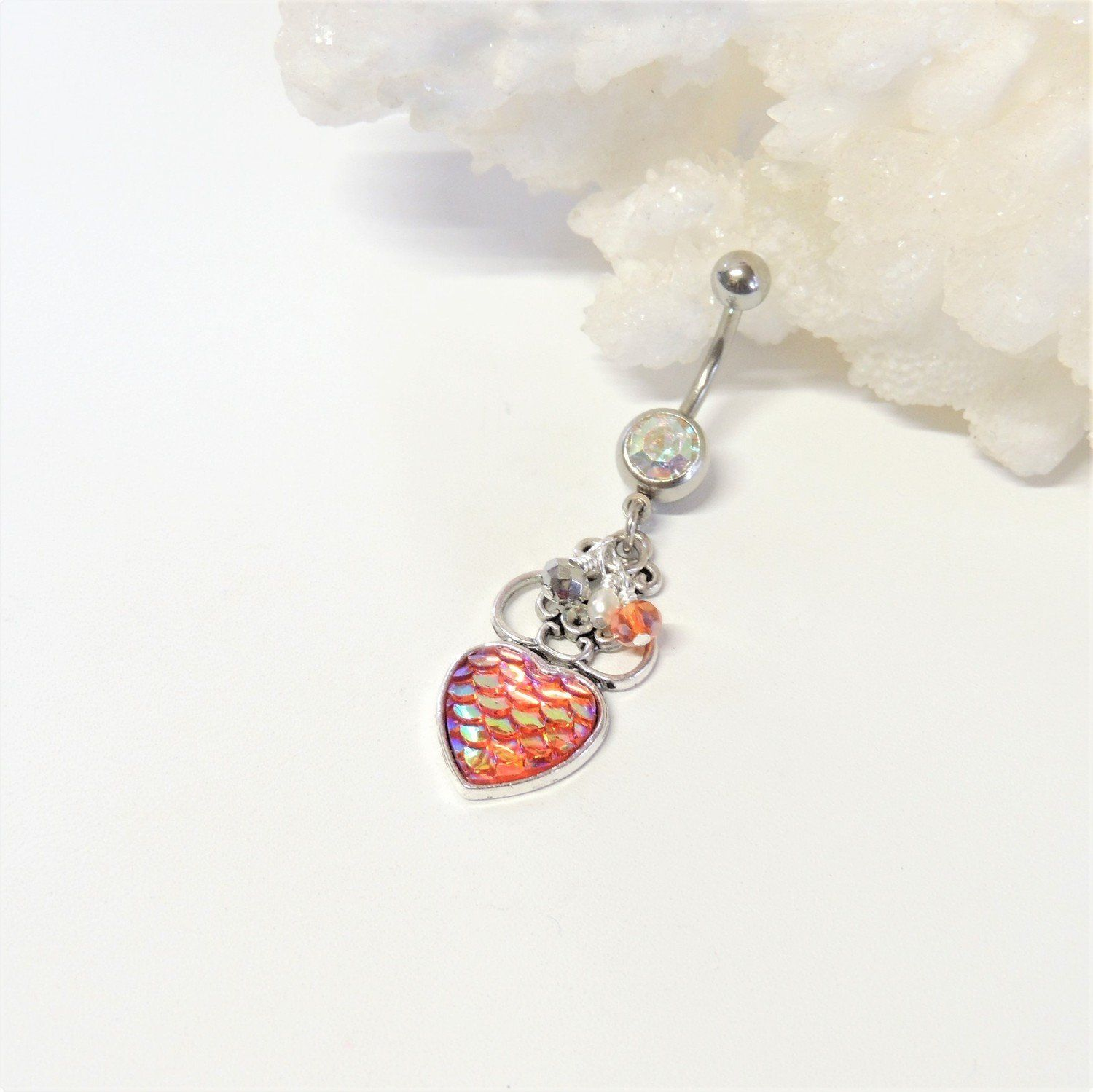 Iridescent Orange Mermaid Scales Heart Dangle Belly Ring Handcrafted