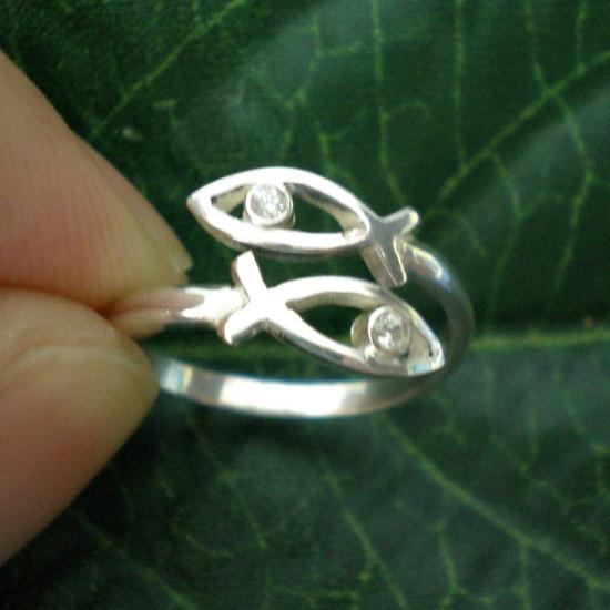 Jesus Ichthus Fish Ring, Christian Fish Symbol Faith
