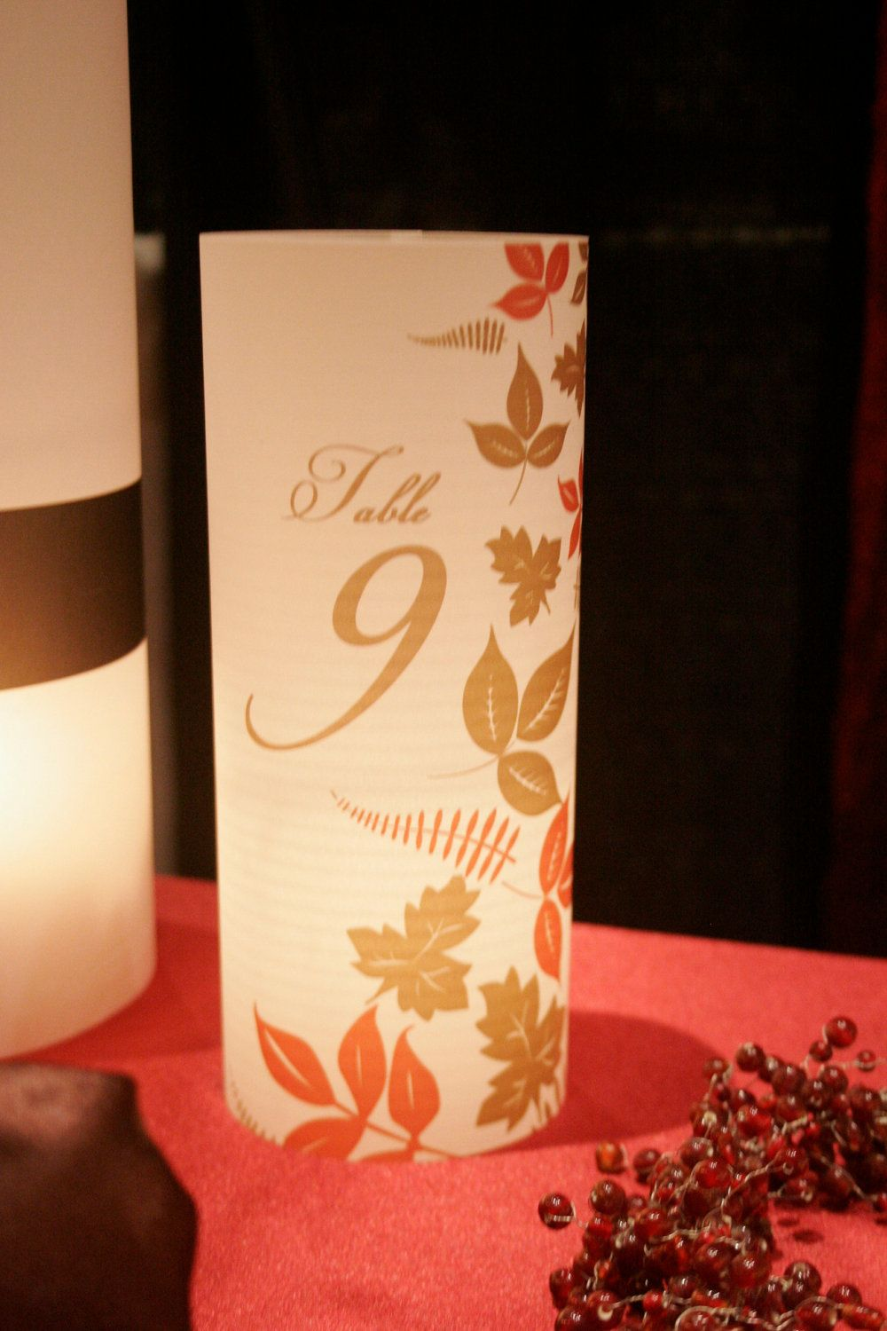 Diy fall wedding decor   DIY fall leaves luminaries for centerpiece table numbers at