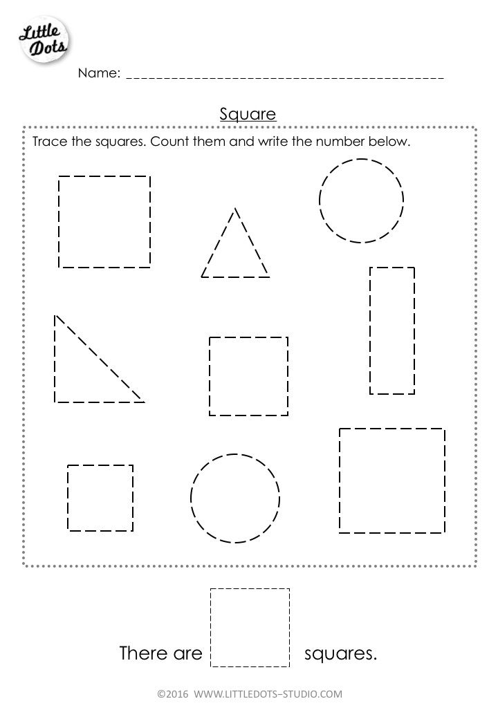 Free Pre-K square shape worksheet. Learn to recognise and count the ...