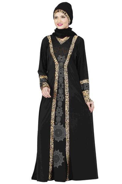 15fde20452e6 Islamic Abaya with Hijaab and Dupatta at wholesale rate. LadyIndia.com # Designer  Abayas, Latest Abaya Designs Black & Golden Colored Lycra
