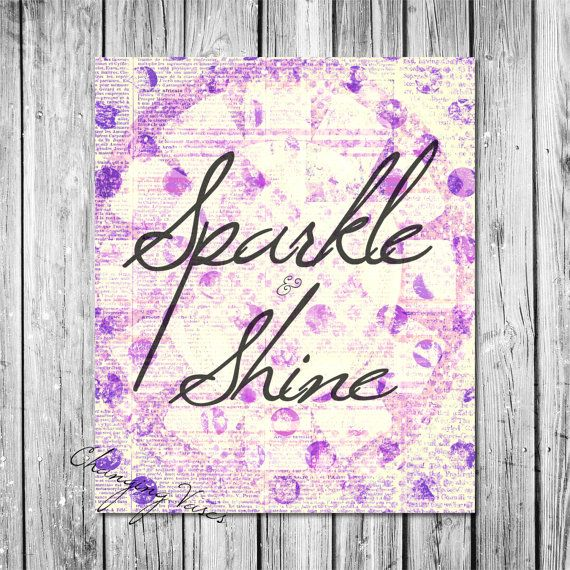 Printable Wall Decor  Sparkle and Shine    Purple by ChangingVases, $3.00