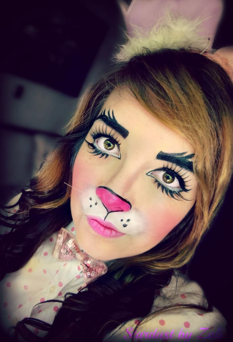Our Easter Bunny Makeup Tutorial Results In This Colorful And Cute Bunny Face Bunny Halloween Makeup Bunny Makeup Unique Halloween Makeup