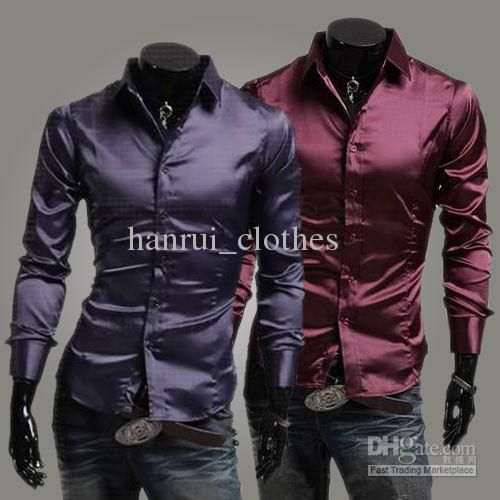 Modern men's silk shirts long sleeve shirt collar slim shirts pure ...