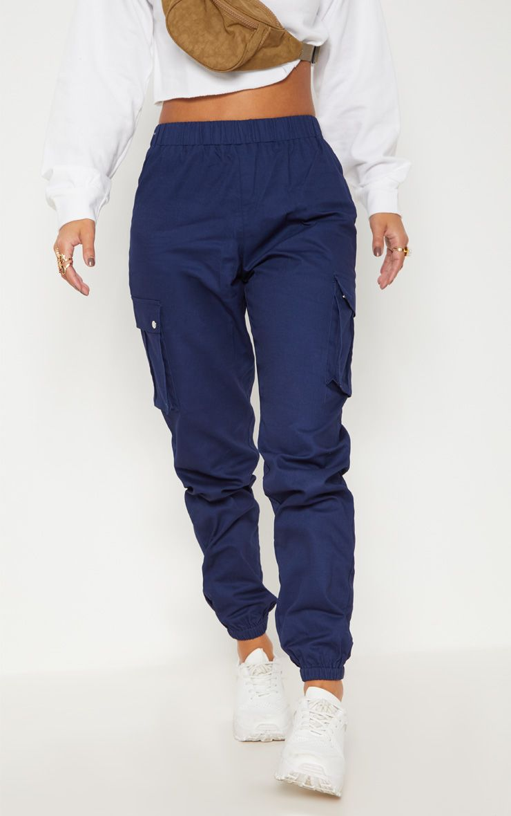 3eb3ce58ff095 Petite Navy Pocket Detail Cargo Pants in 2019 | Full Fits | Cargo ...
