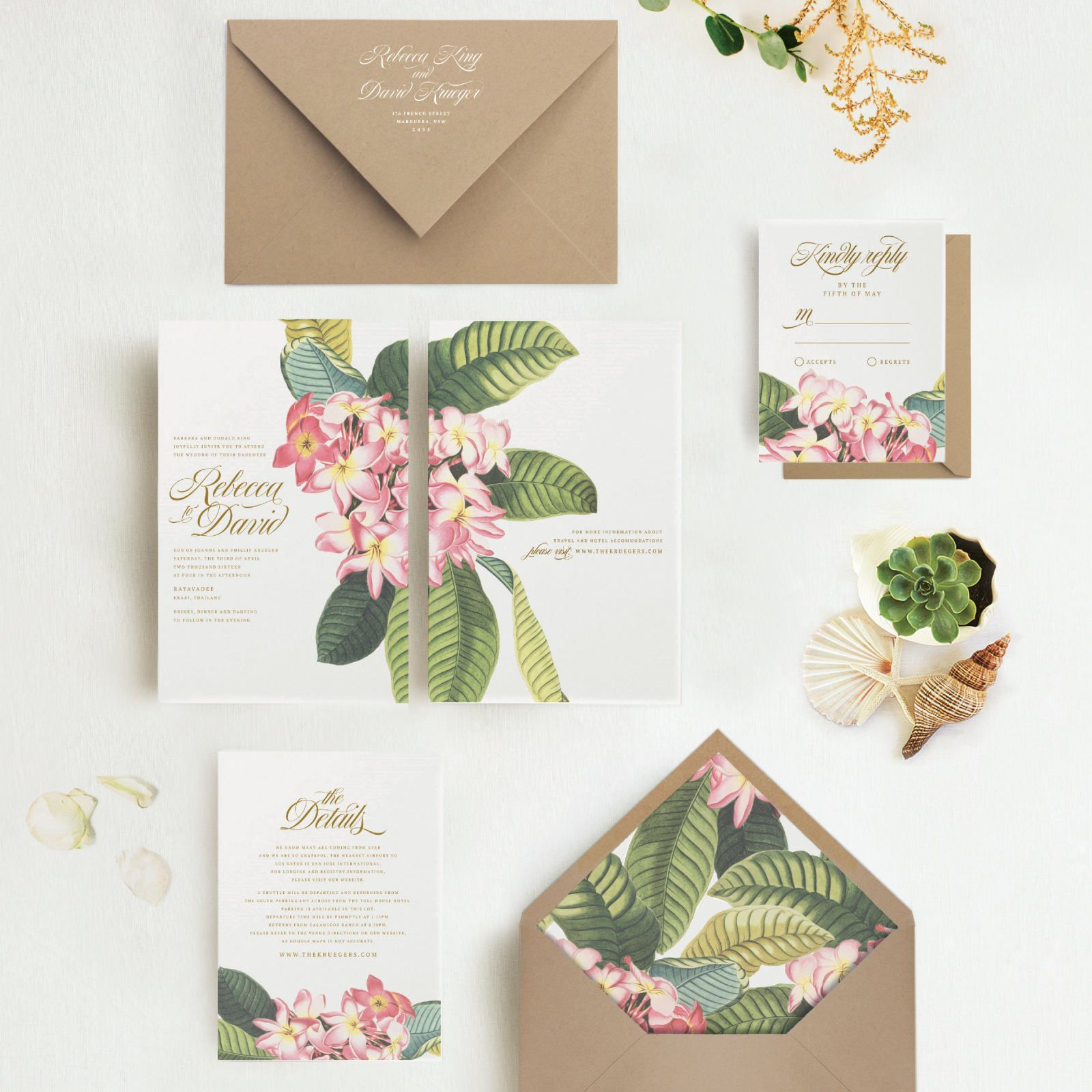 Announce Your Tropical Wedding With Our Elegant Plumeria Invitation
