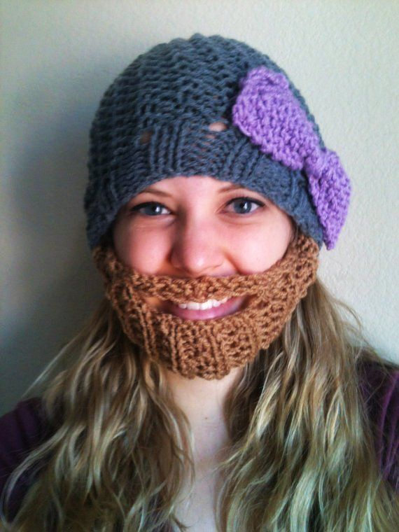 Bearded Beanie Heather Gray Hat W Lilac Bow Crochet Pattern