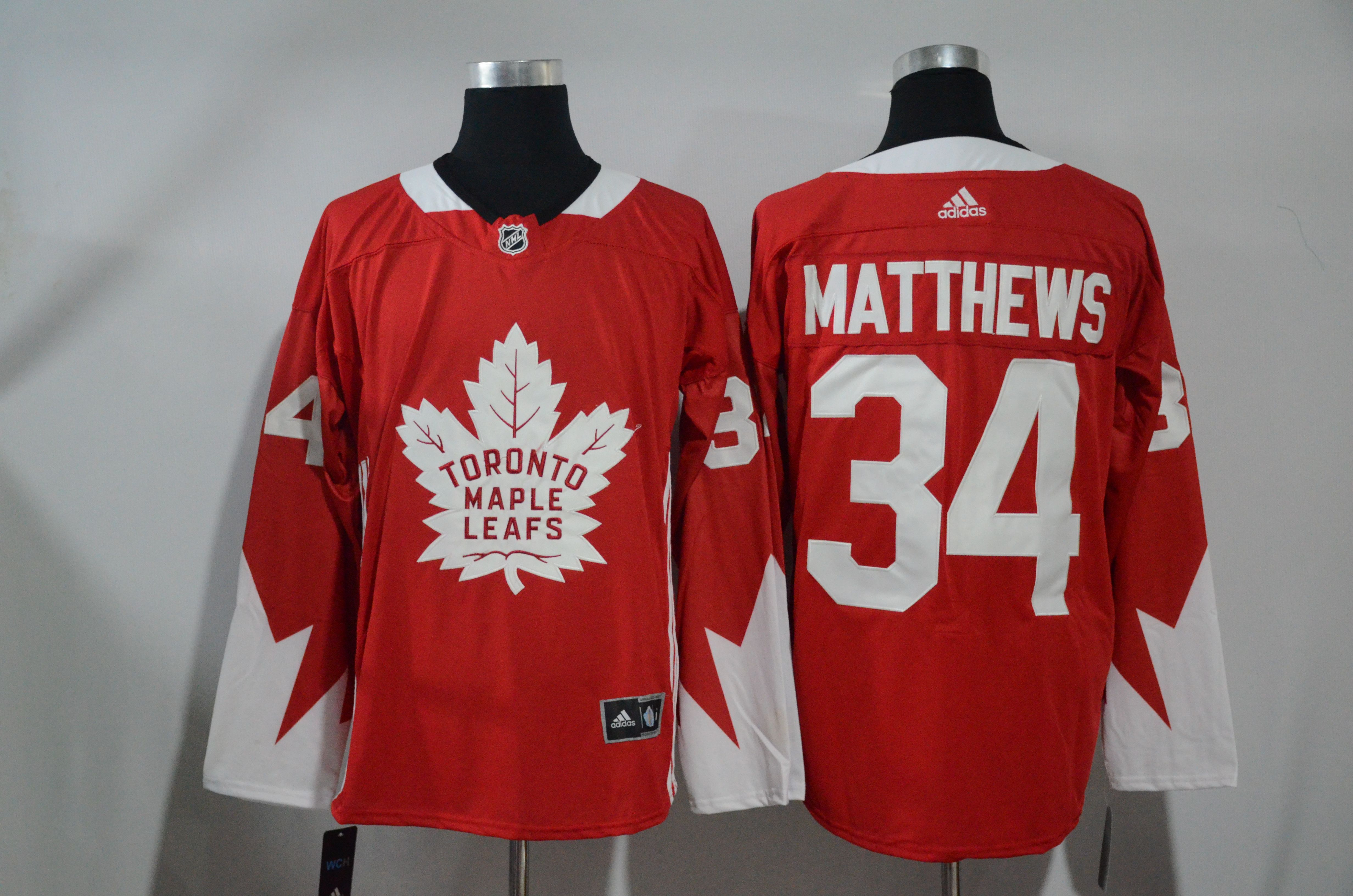 best loved 538c0 5e2fc Adidas Maple Leafs #34 Auston Matthews Red Authentic ...