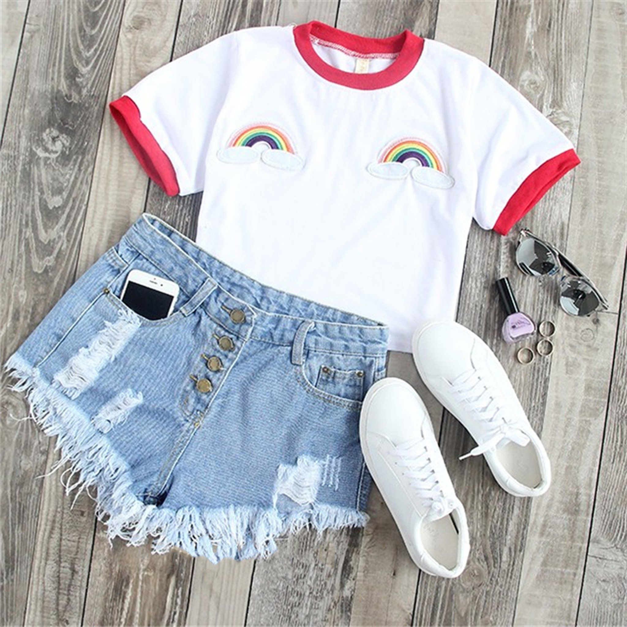 f335e3cfef8749 Cute Summer Outfit Ideas for Teen Girls with Shorts for School or Vacation  - Casual Rainbow Embroidered T-Shirt Tee in White - Ideas lindas del equipo  del ...