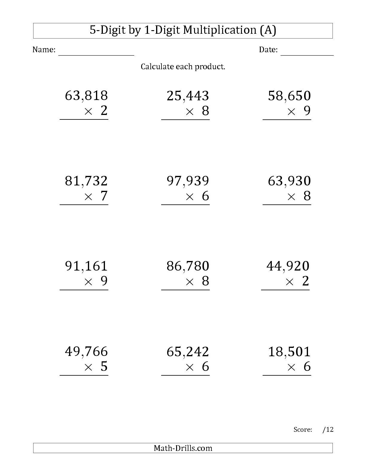 Multiplication 6th Grade Sixth Grade Math Printable Math Worksheets Math Worksheets