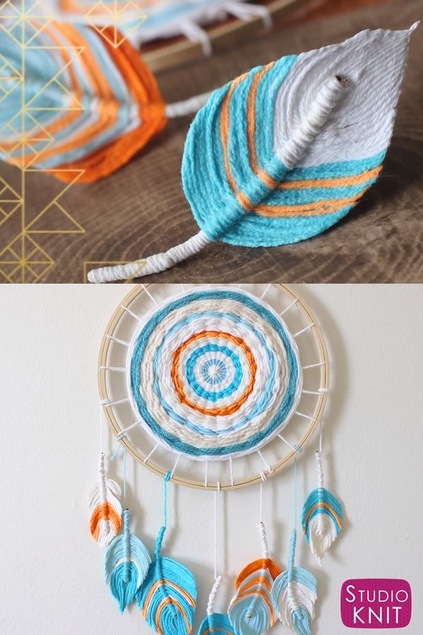 Love my Beachy Wall Hanging - A Fun Boho DIY with Feathers make from Yarn. Learn how to craft this easy fiber art project with Studio Knit. #StudioKnit #KnittingVideo #wallhanging #feathers #bohoDIY #fiberart