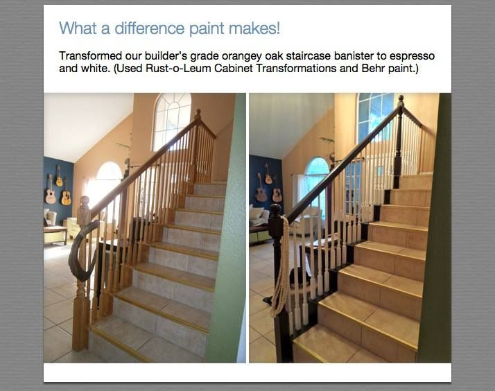 Painted Over Builders Grade Oak Staircase Banister To Espresso Exterior Handrail Front Porch Steps Staircase