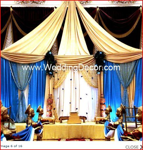 Indian Wedding Decor Cream Gold And Blue Mandap