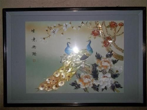vintage chinese 3d shadow box wall art mother of pearl. Black Bedroom Furniture Sets. Home Design Ideas