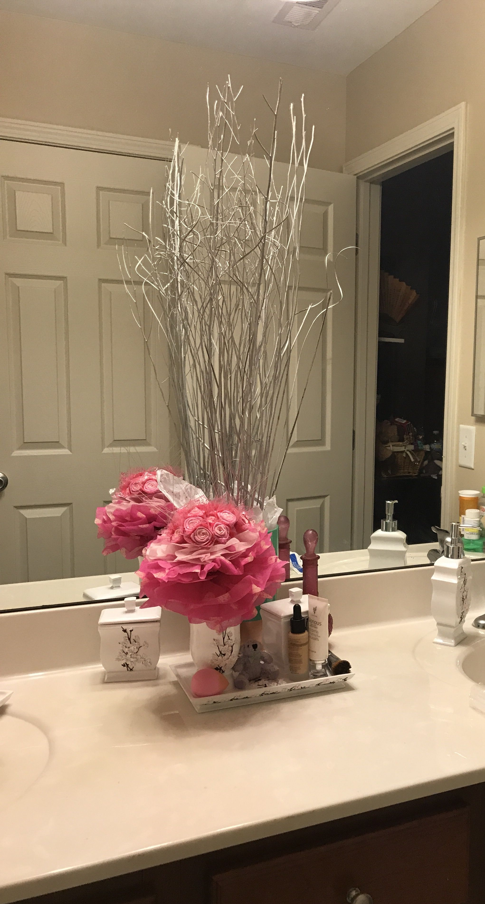 Cherry Blossom Themed Bathroom Decor With Aqua Highlights Used Vanda Accessories These Are A Little Pricey But Definitely Worth It