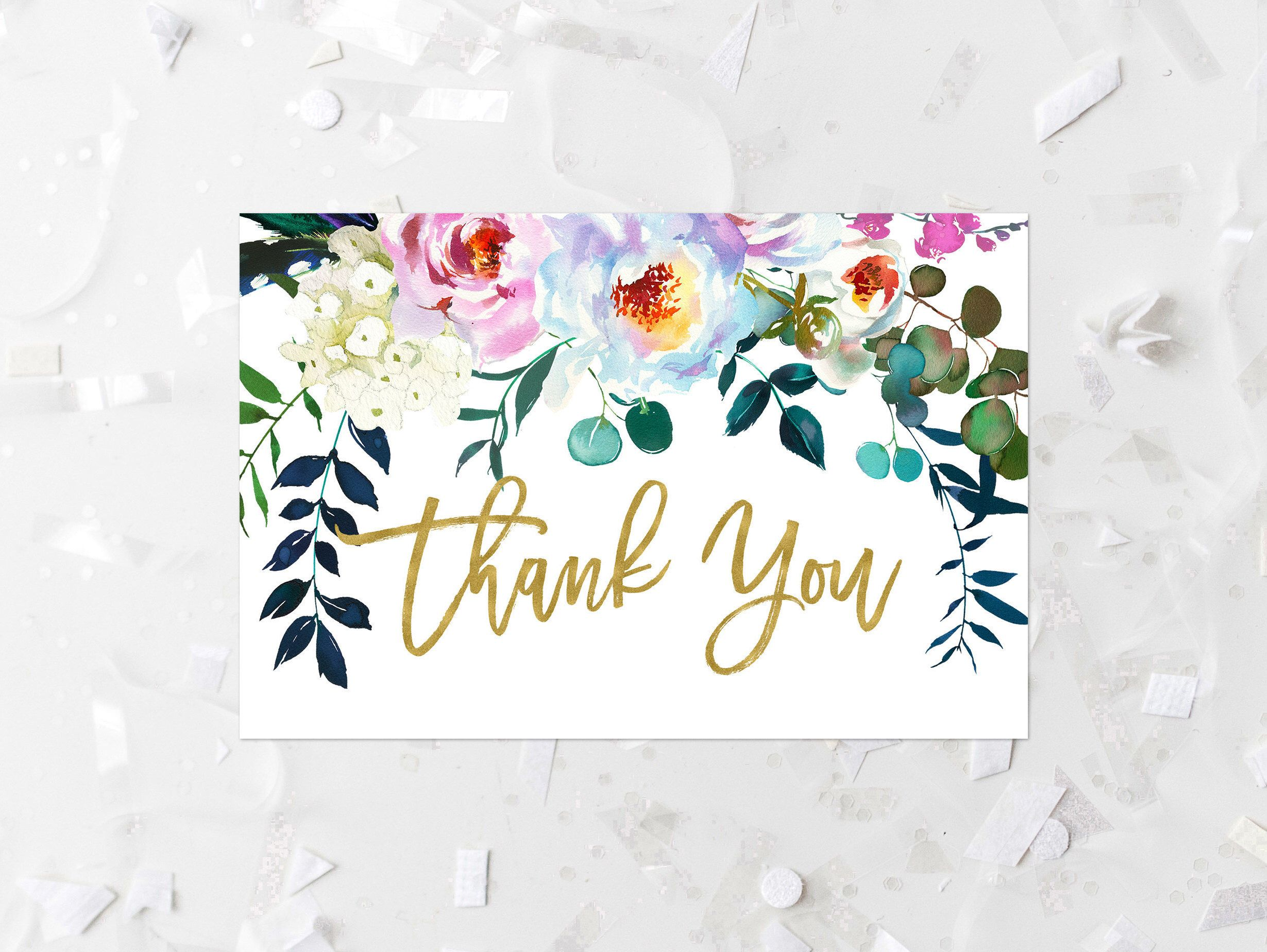 Birthday Printable Floral Thank You Note Card White Flowers Thank You Card Wedding Baby Shower Bridal Shower Boho Thank You Card