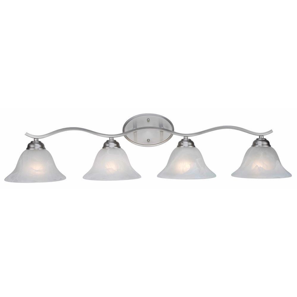 Photo of Bel Air Lighting Hollyslope 4-Light Brushed nickel Bath Light CB-2828 BN – The Home Depot