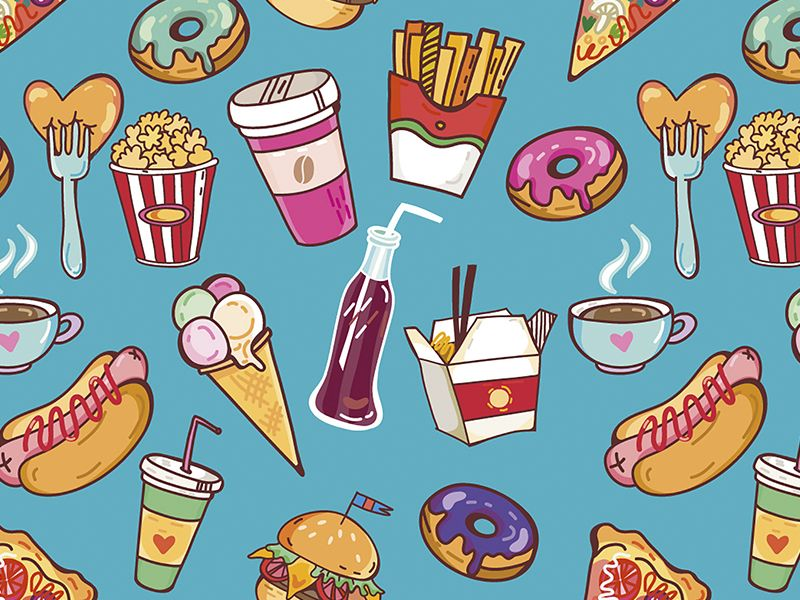 Fast Food Pattern Food Patterns Fast Food Food Wallpaper