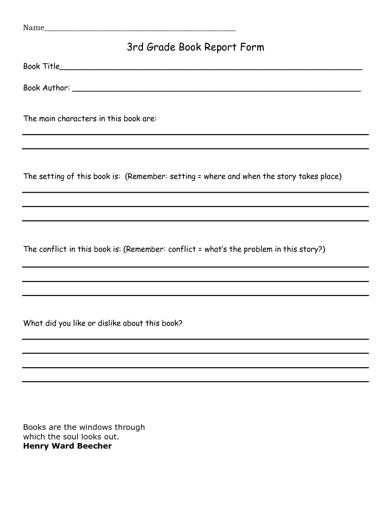 Book Report 3rd Grade Template