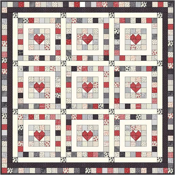 From The Heart Jelly Roll Quilt Pattern Finished Size 65 X 65