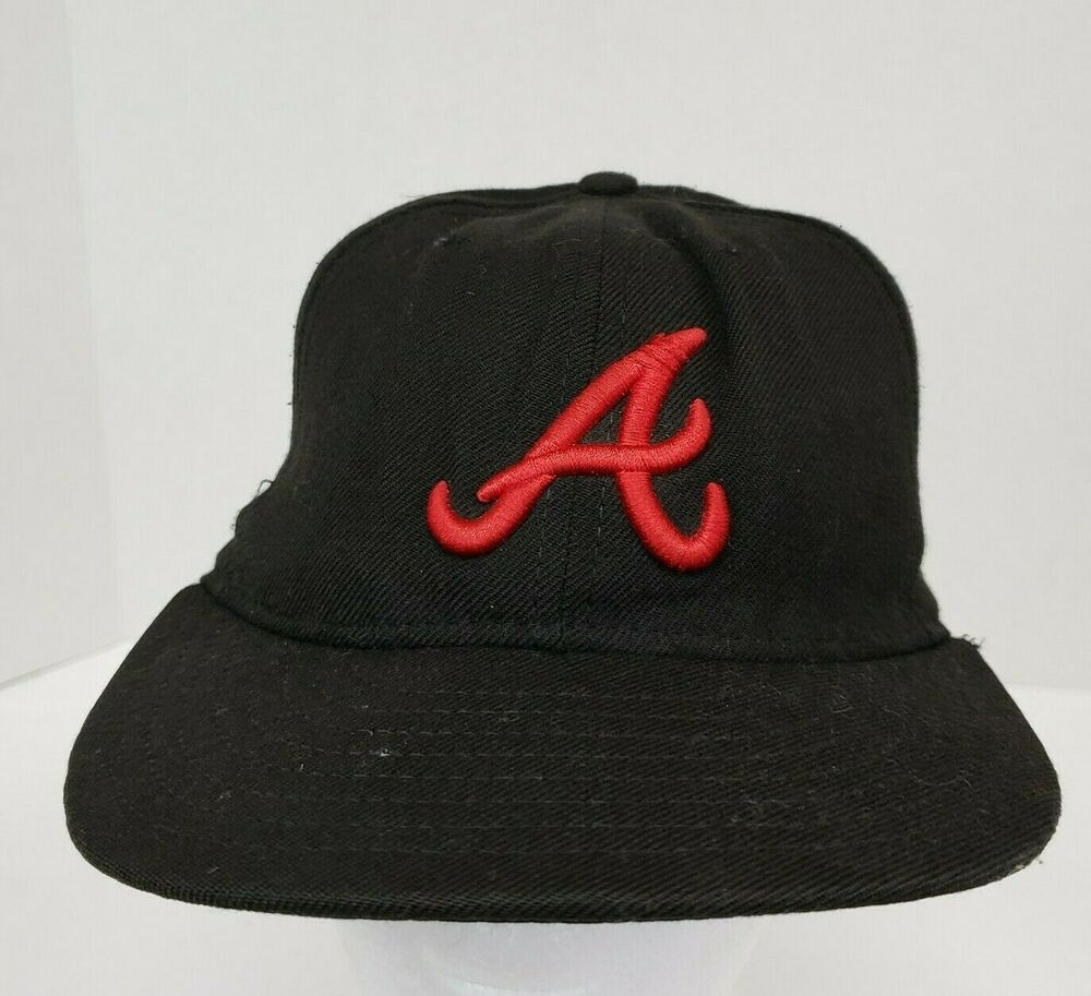 New Era Atlanta Braves Cap 59fifty Mlb Fitted Hat Sz 7 Black Red Embroidered A Newera Atlantabraves Fitted Hats Atlanta Braves Hat Black And Red