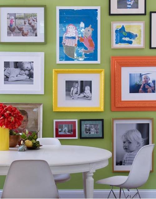 Attraktiv Wanddeko Ideen Bilder Familienfotos Wandgestaltung Essbereich Farbig