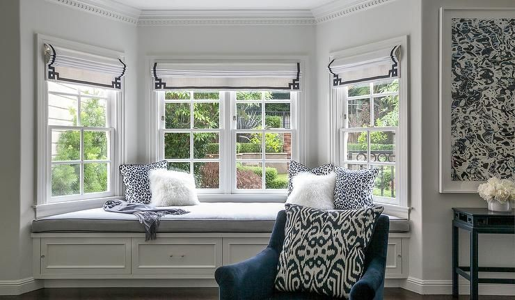 Contemporary Master Bedroom Bay Window Bench With Navy Greek Key Roman Shades In For Ideas Window Treatments Bedroom Bay Window Benches White Window Treatments