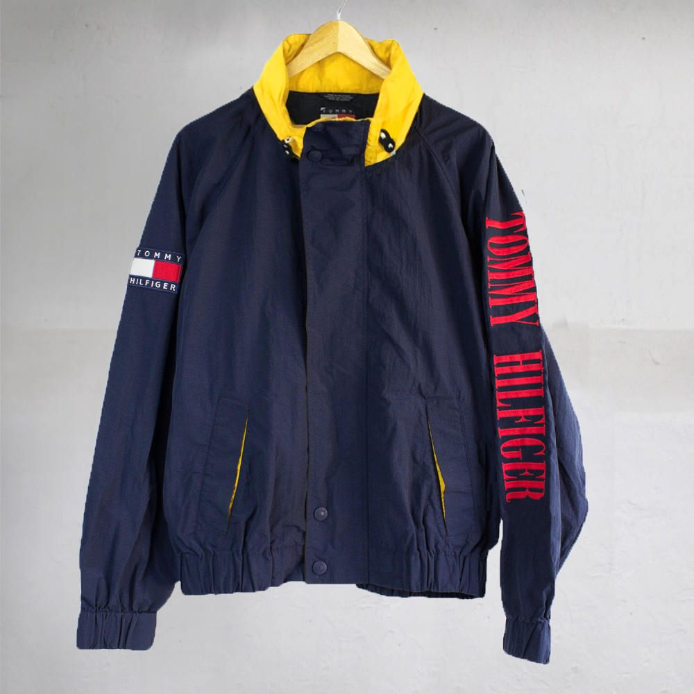 23d73301 Vintage 90's Tommy Hilfiger Sailing Hooded Jacket Spell Out Blue/Red/Yellow  Size L by VapeoVintage on Etsy