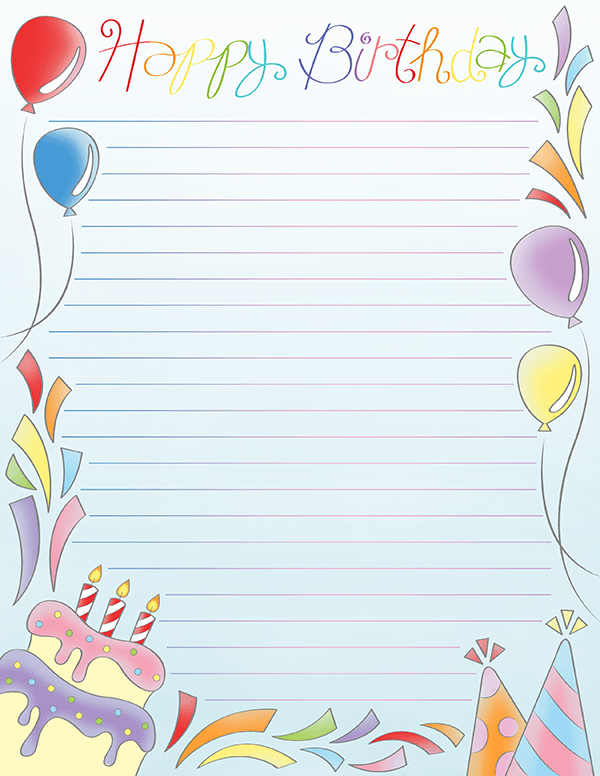 Free Printable Happy Birthday Stationery In Jpg And Pdf Formats The Stationery Is Avail Paper Birthday Cards Free Printable Stationery Birthday Card Printable