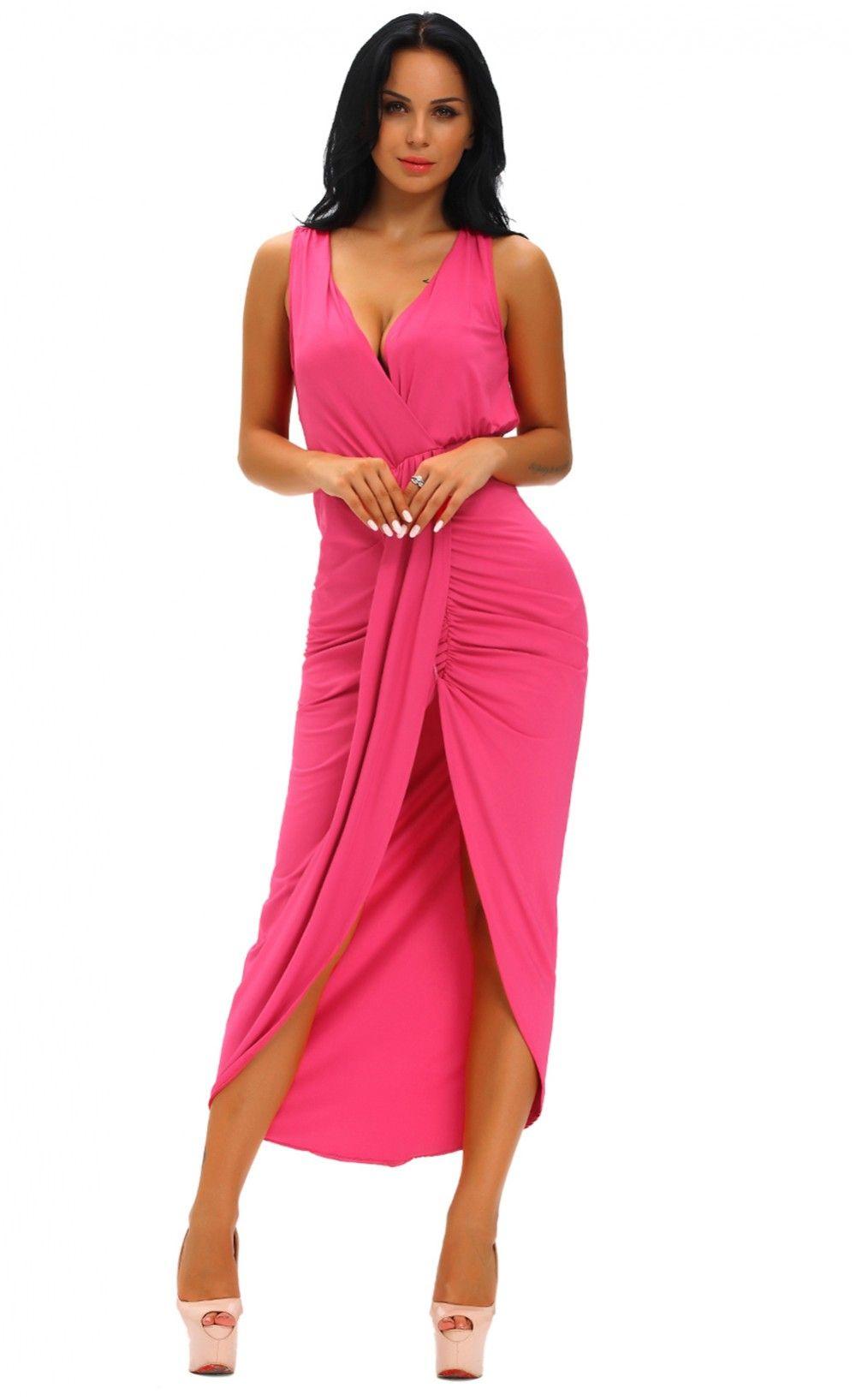 Draped slit front maxi dress fashion pinterest maxi dresses