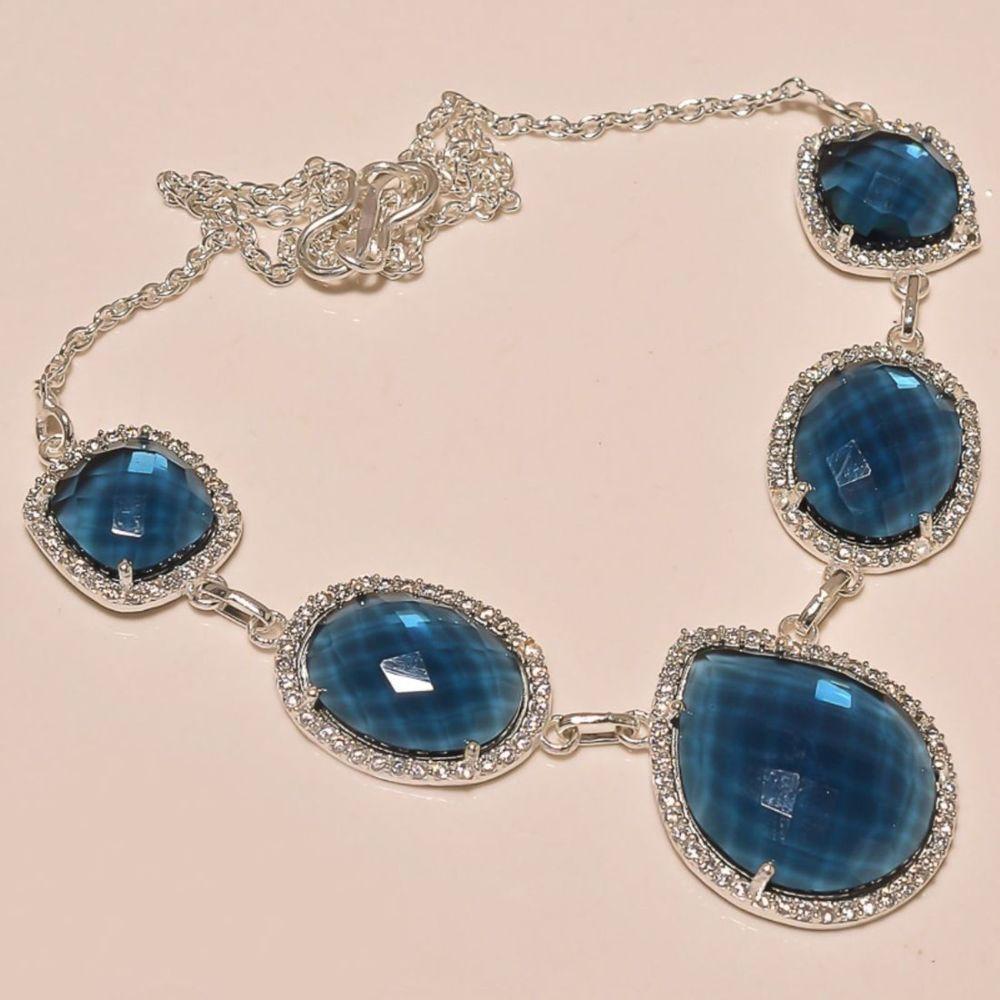 "SPARKLING BLUE ALEXANRITE WITH WHITE CZ .925 SILVER NECKLACE 18""  #Handmade #Pendant"