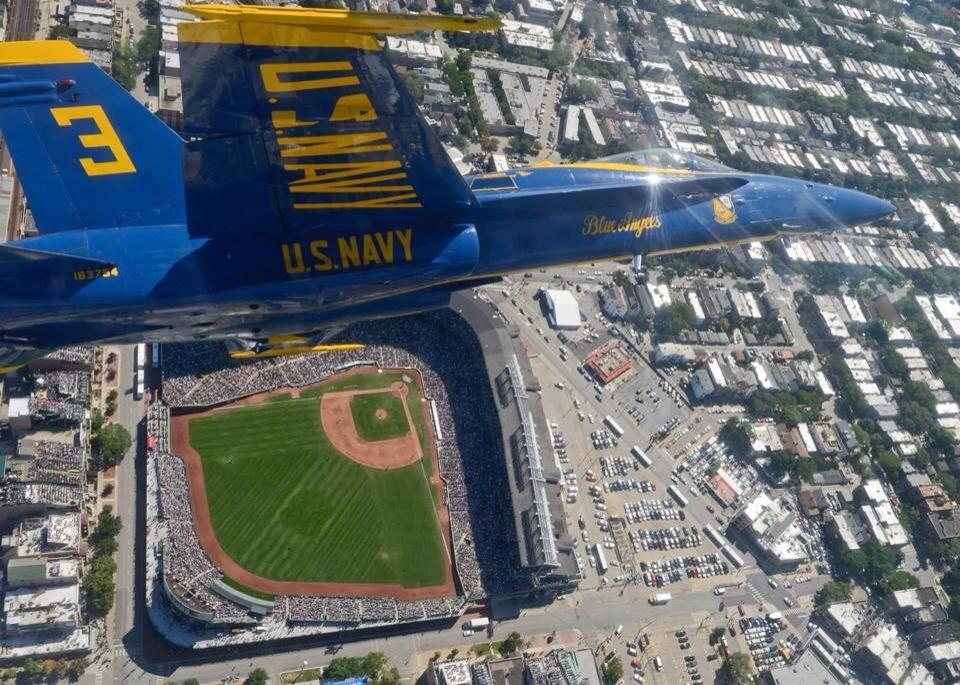 Air show Navy Blue Angel over Wrigley Wrigley field