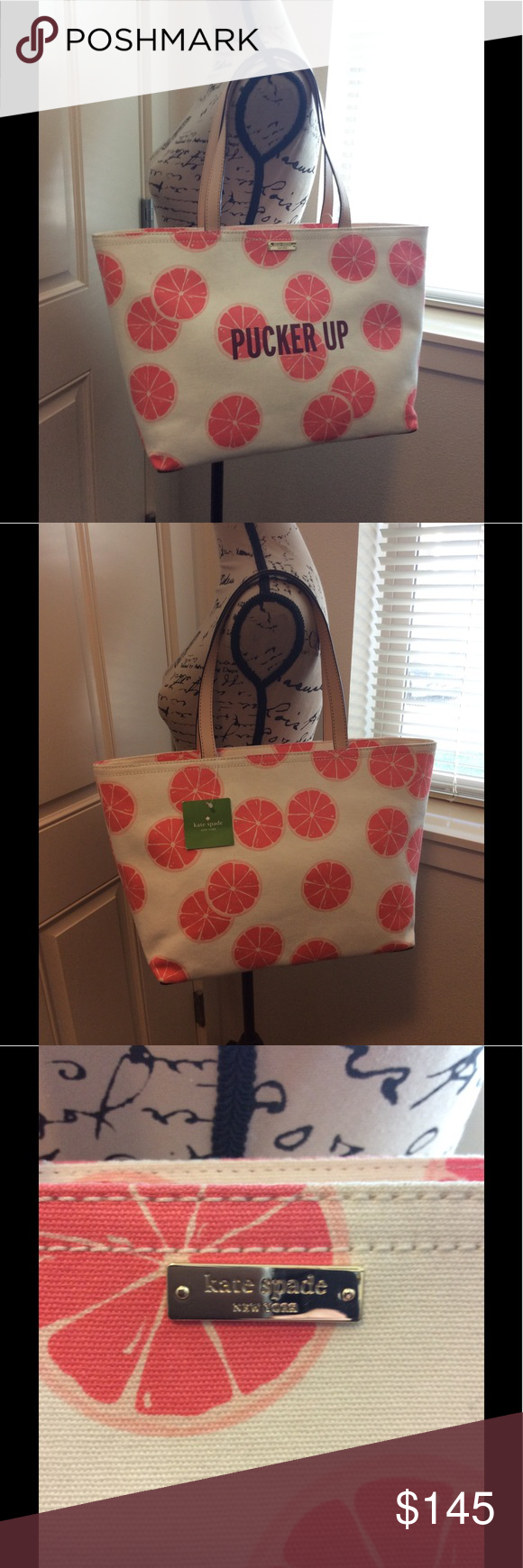 KATE SPADE TOTE BAG I'm obsessed with this bag and I might have to keep it for myself!  this is NWT . In fantastic condition!! There is a small scratch on the bottom as seen in the last 2 photos, otherwise perfect! Perfect for spring and summer!! kate spade Bags Totes