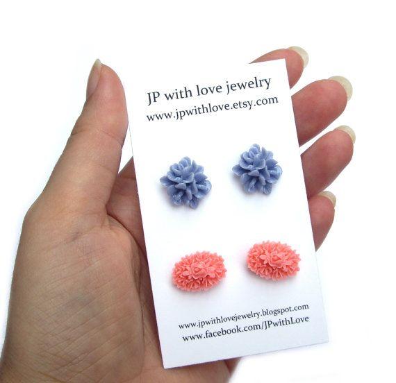 Flower Stud earrings pink blue rose http://etsy.me/q5HbED