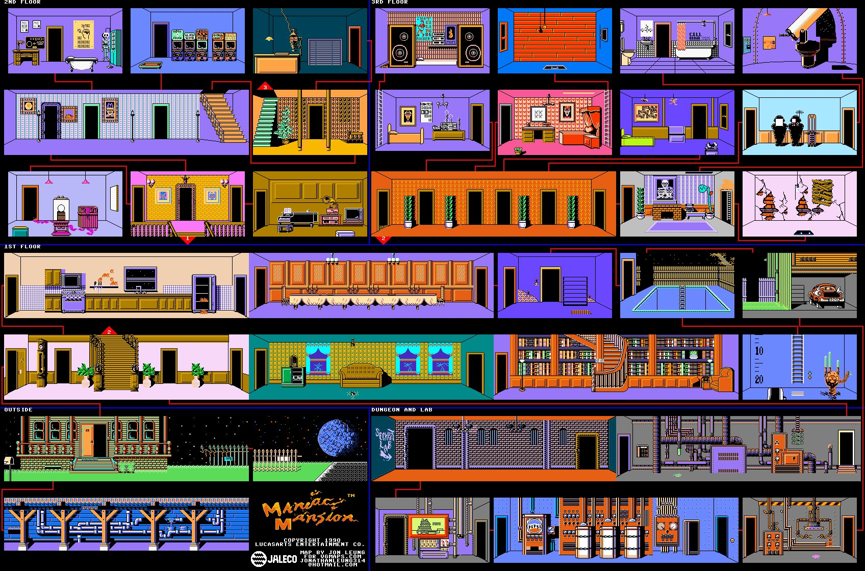 How Many Memories Do You Have Of LucasArts Classic Adventure Game Maniac Mansion Heres A Map The Original NES Version Which Might Spur Even More