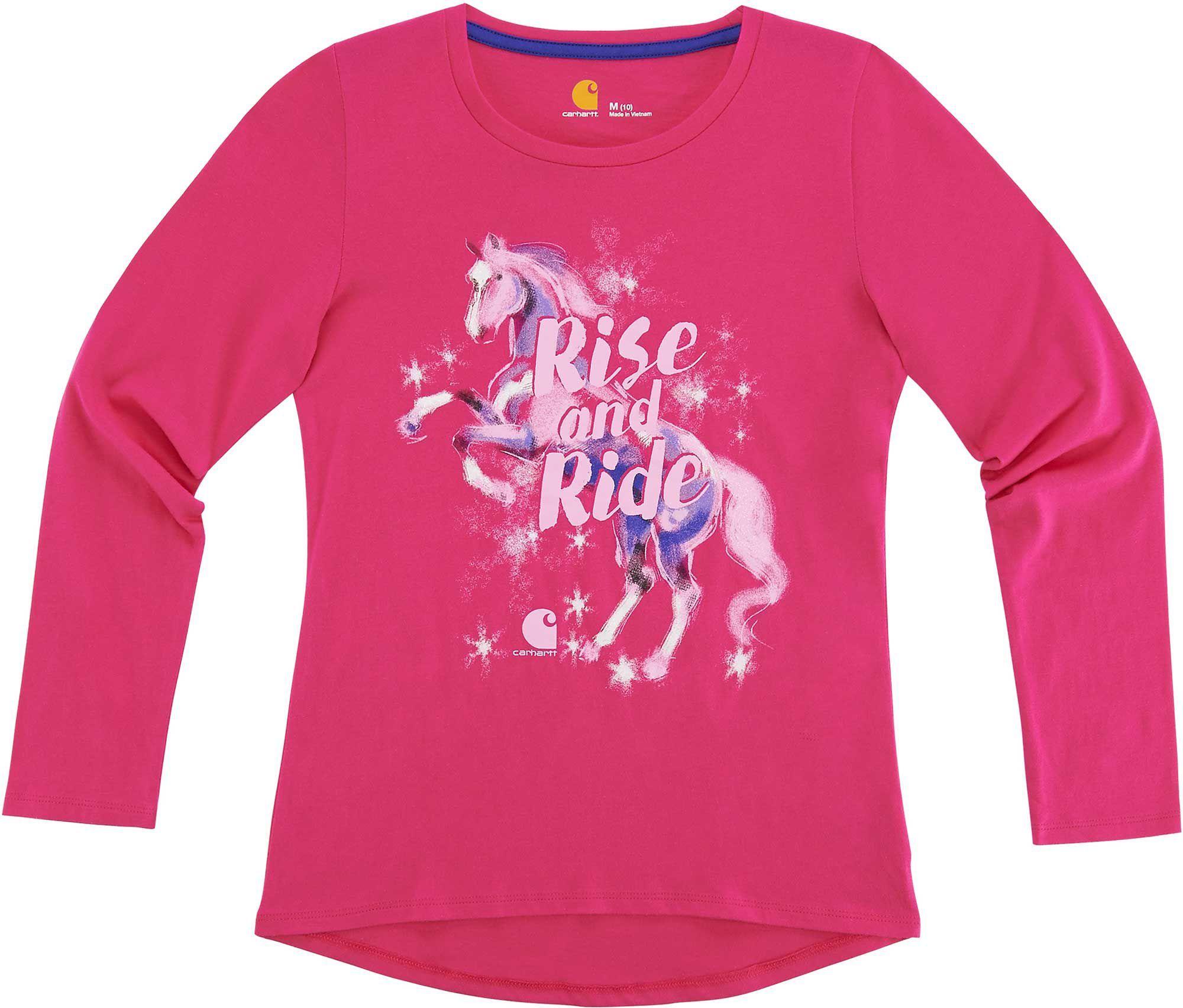 c8ac4e975 Carhartt Little Girls' Rise & Ride Horse Long Sleeve Shirt, Bright Pink
