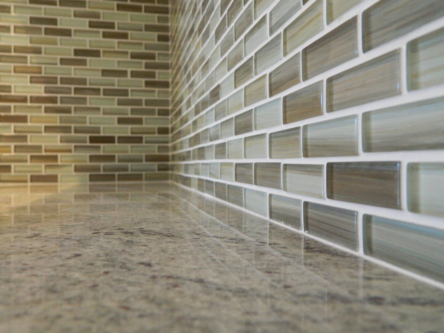 Sublime Brown, Beige, And White Hand Painted Glass Mosaic Subway Tile For Kitchen  Backsplash