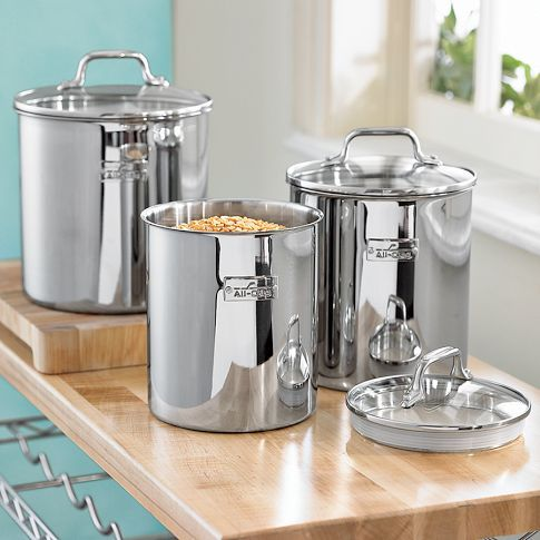 All Clad Canisters Enough Said Stainless Steel Canisters Stainless Steel Canister Set Kitchen Canisters