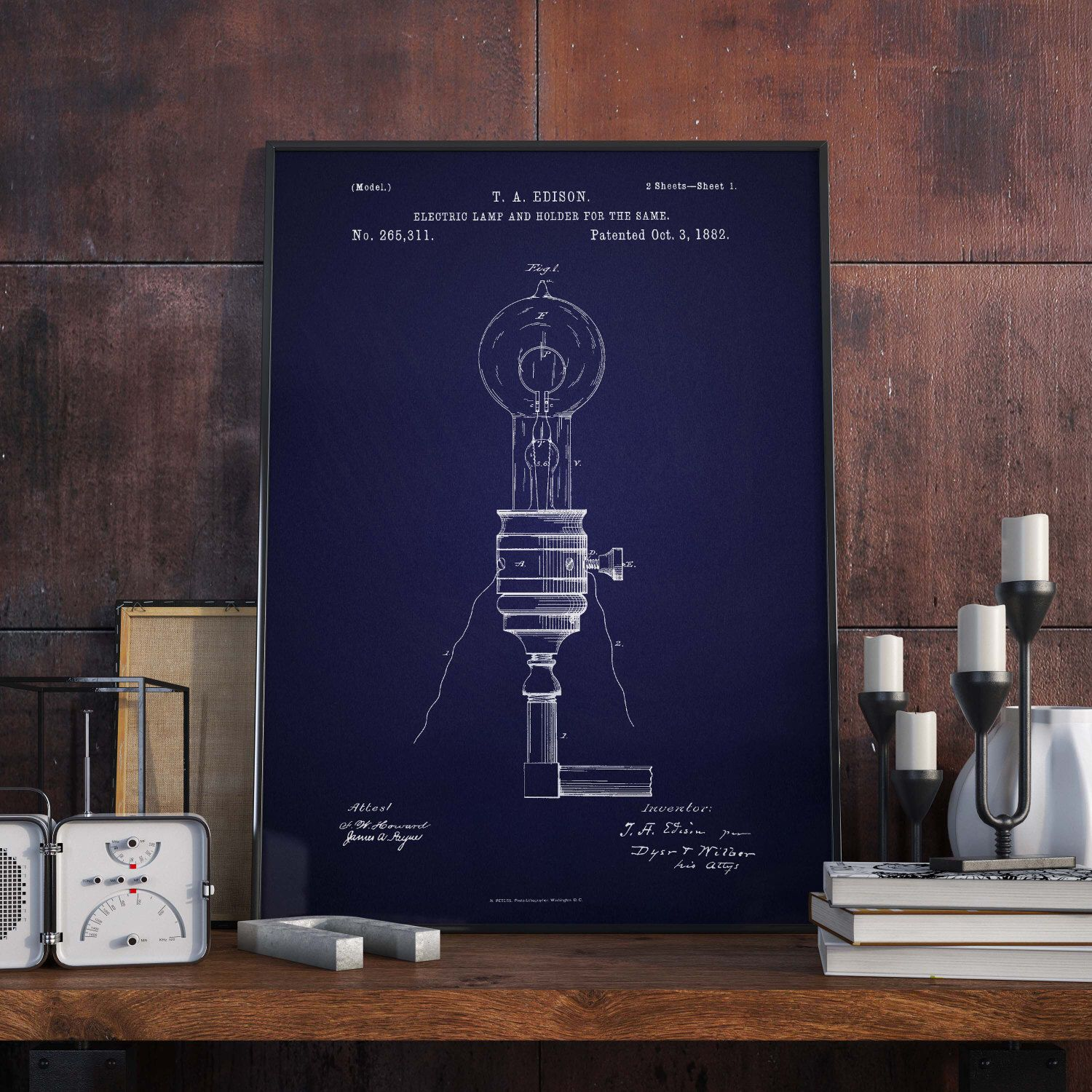 Electric Lamp Patent Print Edison s Electric LampPatent Poster