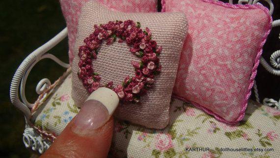 Shabby dollhouse miniature embroidery vintage wedding pillow