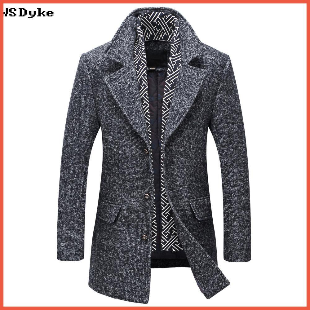 0fdc21100 2017 Autumn Winter New Medium Long Men Wool Jacket Detachable Scarf High  Quality Abrigo Casaca Hombre