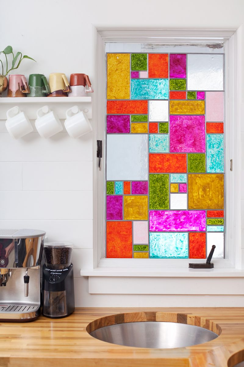 How To Make A DIY Faux Stained Glass Panel. For Apartments Or Rentals, It  Could Be Done On A Separate Panel Of Glass, Then Rested On The Window For A  ...