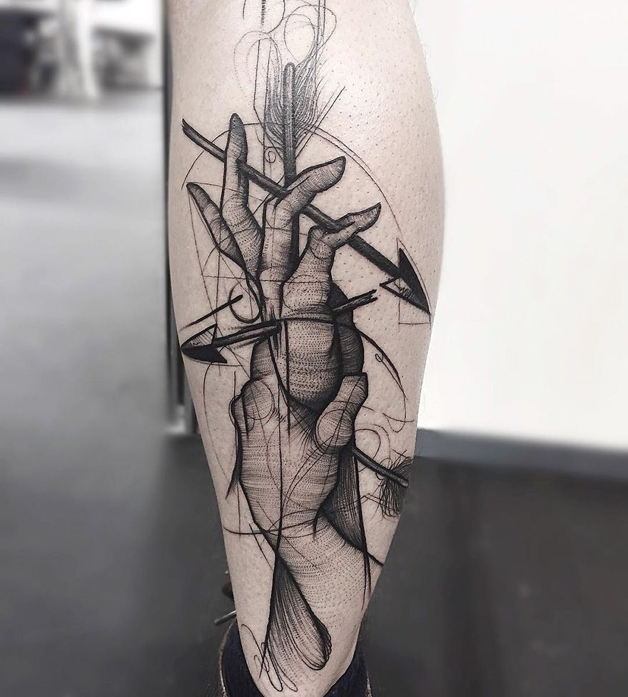 Sketch Tattoos By Frank Carrilho Show The Beauty Of Imperfection Sketch Style Tattoos Geometric Tattoo Sketchy Tattoo