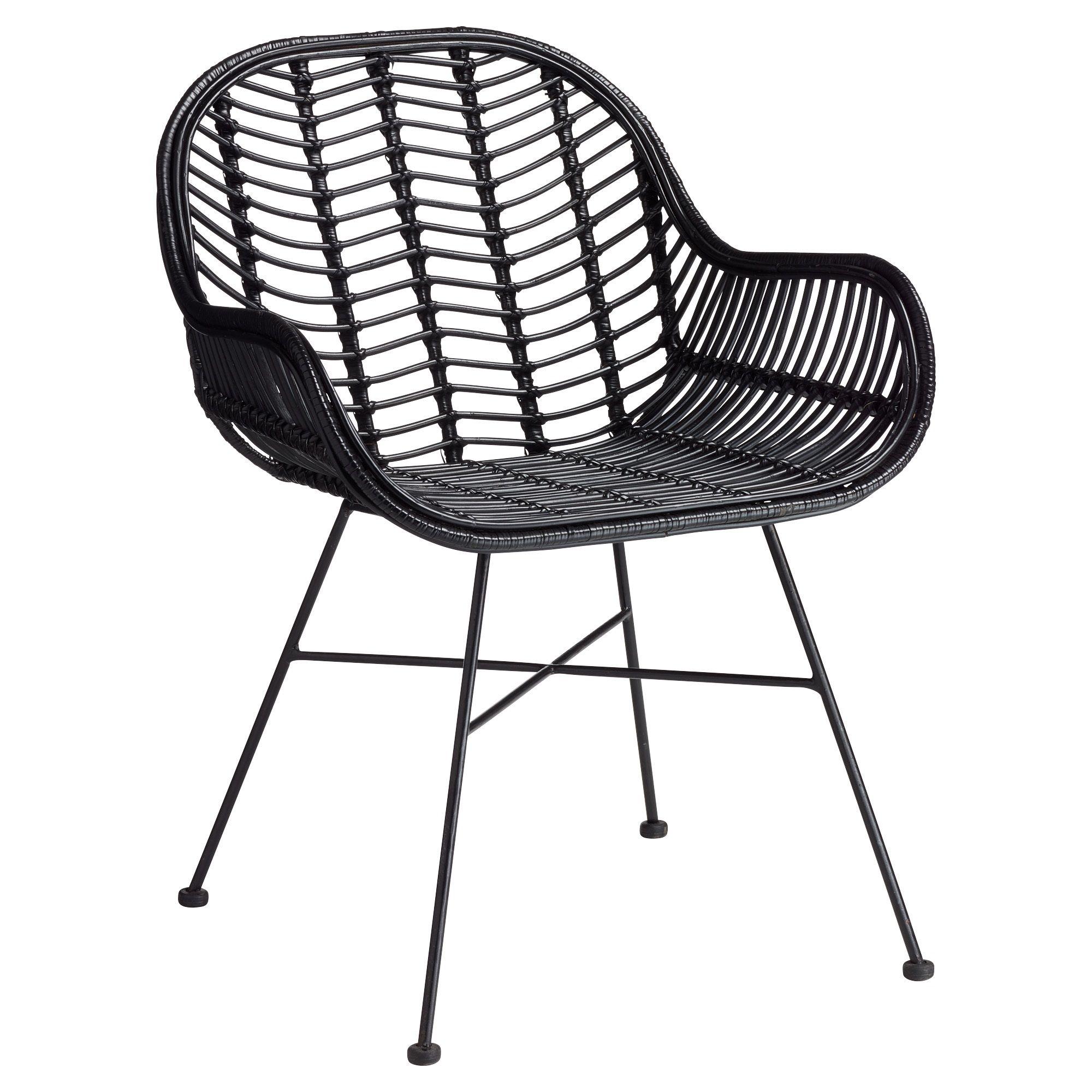 Rotan stoel zwart met subtiel onderstel 66x60x81 cm