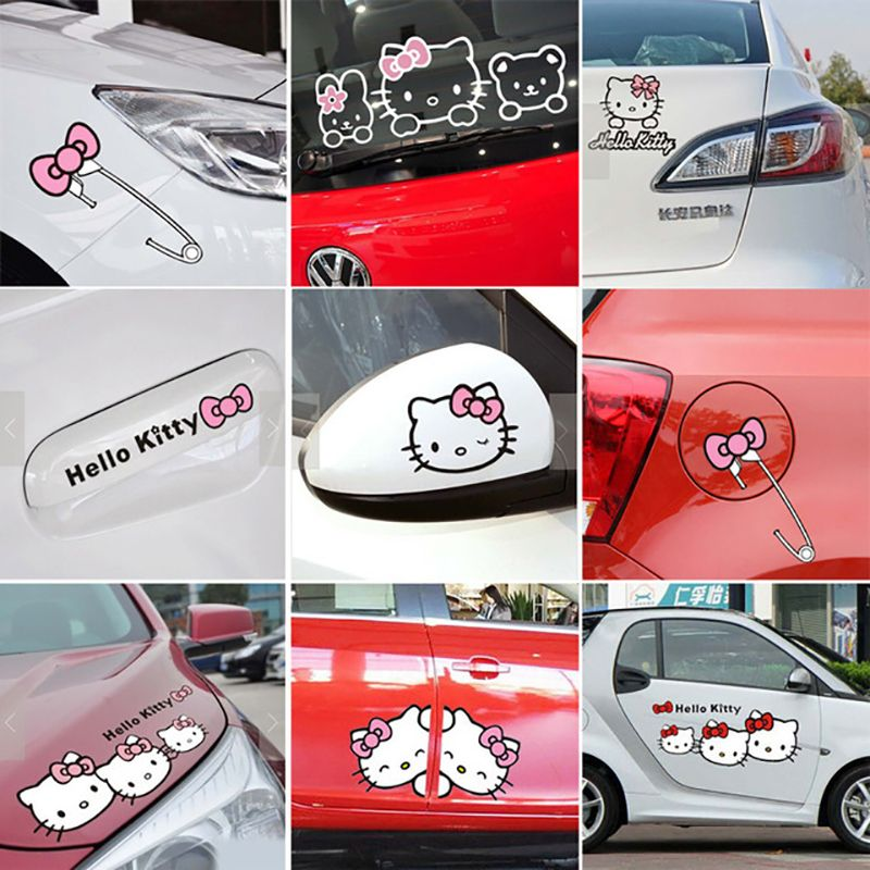 Cartoon Hello Kitty Car Stickers And Decals Pink Car Accessories - Hello kitty car decal stickers