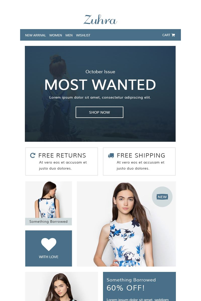 Zuhra Ecommerce Newsletter Template 65131 Email Templates Newsletter Design Templates Ecommerce Email Templates
