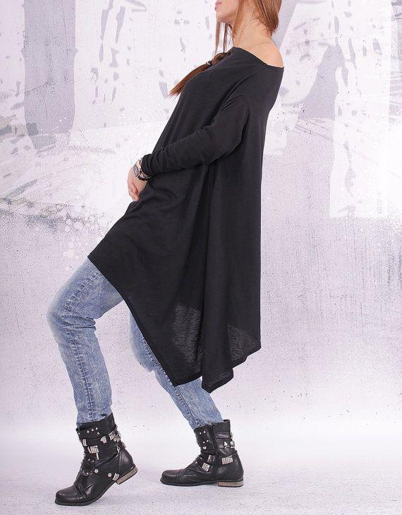 dab321f2ed3 Top, Black top, Plus size top, oversize black tunic, asymmetric ...