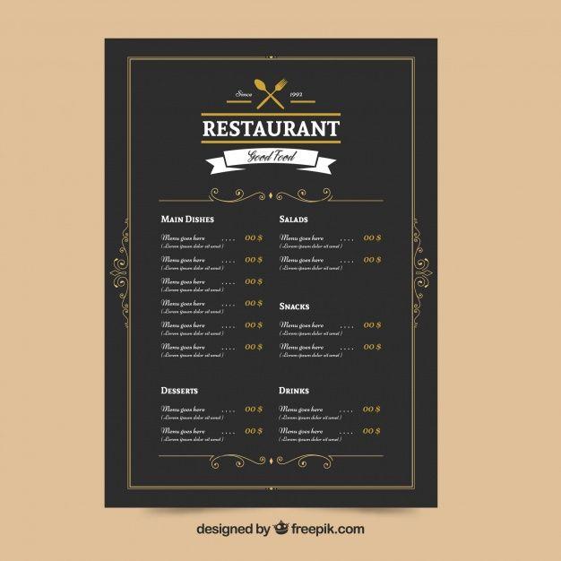 Elegant restaurant menu Free Vector Menu Pinterest